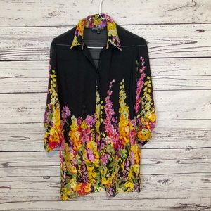 Mischa sheer floral button down